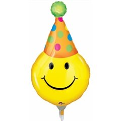 Balon folie mini-figurina 36cm Smiley, umflat  + bat si rozeta, Amscan 0772202