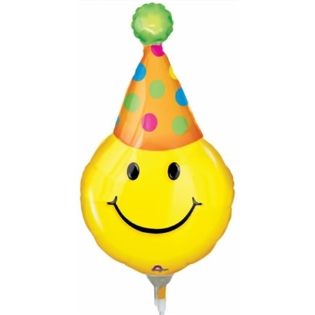 "Party Hats Smiles Mini Shape Air-Filled Balloon - 14""/36 cm, Amscan 0772202, 1 piece"