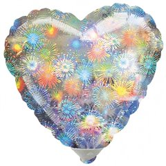 Balon mini folie inima holografica 10cm, umflat  + bat si rozeta, Amscan 16266