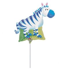 Balon mini folie figurina zebra 23cm + bat si rozeta, Amscan 14309