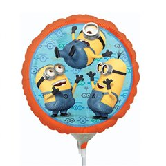 Balon mini folie Minion - 23cm + bat si rozeta, Amscan 29956