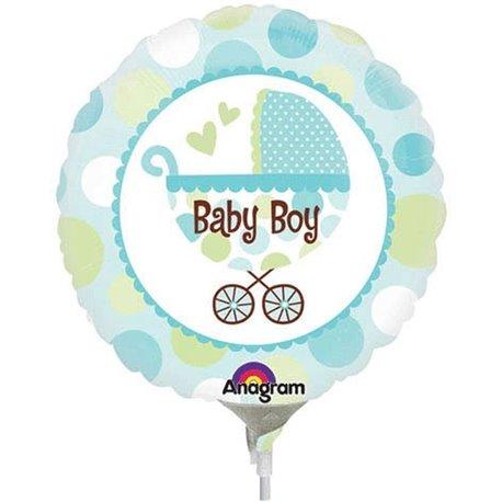 Baby Boy Buggy Mini Foil Balloon, Anagrm, 23 cm, 22126