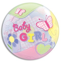 "Baby Girl Butterflies Bubble Balloon, Qualatex, 22"", 69729"