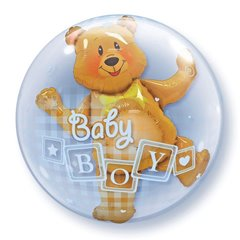 "Baby Boy Blocks & Bear Double Bubble Balloon - 24""/61cm, Qualatex 68646, 1 piece"
