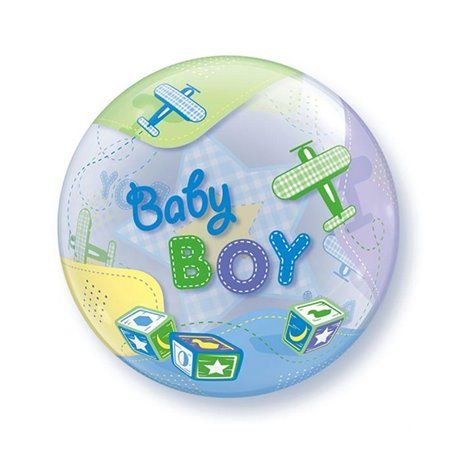 "Baby Boy Airplanes 3D Bubble Balloons, Qualatex, 22"", 69728"