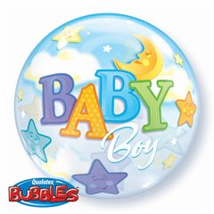 "New Baby Boy Moon and Stars Bubble Balloon - 22""/56cm, Qualatex 23597, 1 piece"