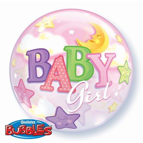 "Balon Bubble 22""/56cm Qualatex, Baby Girl, 23598"