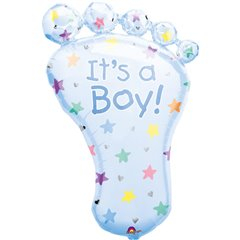 "Blue It's a Boy Baby Foot Baby Shower Party Foil Supershape Balloon, Amscan, 32"", 07688"