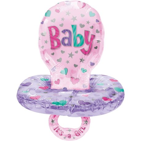 "Girl Baby Pacifier Foil Balloon, Amscan, 22"" X 59"", 09854"