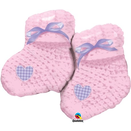 "Baby Girl Booties Shape Foil Balloon - 90cm/35"", Qualatex 60724"