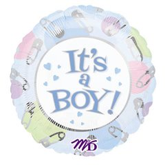 Balon folie jumbo It's a Boy Dots - 80cm, Amscan 10125