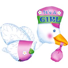 "It's a Girl Bundle of Joy SuperShape Foil Balloon, Amscan, 32"" ,07026"