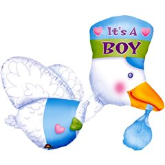 "Bundle of Joy Stork - It's A Boy Multi-Balloon, Amscan, 32"", 07063"