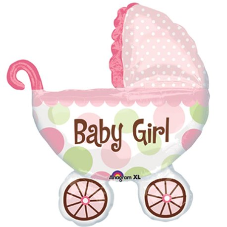 "Baby Girl Buggy SuperShape Foil Balloon, Amscan, 28"" x 31"", 17896"