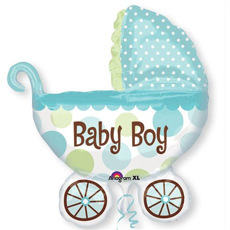 "Baby Buggy Boy Super Shaped Balloon, Amscan, 28"" x 30"", 17952"