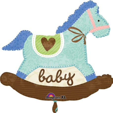 "Blue Rocking Horse New Baby Boy Foil Supershape Balloon, Amscan, 29"", 24575"