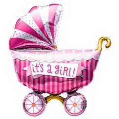 """It's a Girl Buggy Helium Foil Balloon - 40""""/102 cm, Amscan 01020"""