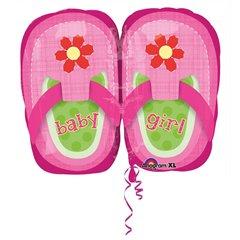 Balon folie figurina botosei roz Baby Girl - 23cm, Amscan 28815
