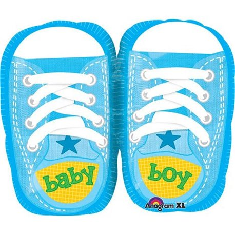 "Baby Boy Sporty Kicks Junior Shape Foil Balloons, Blue, Amscan, 18"", 28816"
