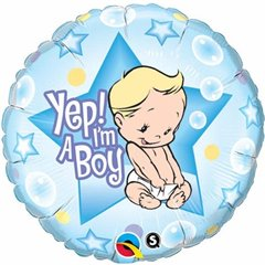"Round Yep I'm A Boy Foil Balloon, Qualatex, 18"", 86885"
