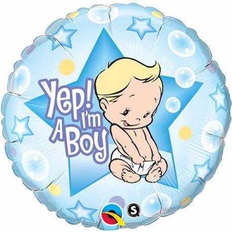 "Round Yep I'm A Boy Foil Balloon, Qualatex, 18"", 86885"
