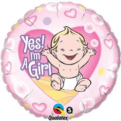Balon Folie 45 cm Yes! I'm a Girl, Qualatex 86890