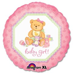 Balon folie 45cm Baby Girl Teddy Bear, Amscan 119650