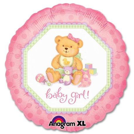 Balon Folie 45 cm Baby Girl Teddy Bear, Amscan 119650