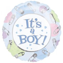 "Balon folie 45cm ""It's A Boy"" Blue Dots & Pins, Amscan 09886"