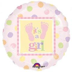 """Baby Steps – Girl Foil Balloon - 18""""/45cm, Amscan 111057-01"""