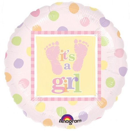 "Baby Steps – Girl Foil Balloon - 18""/45cm, Amscan 111057-01"