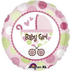 Balon folie 45cm carucior Baby Girl roz, Amscan 21989