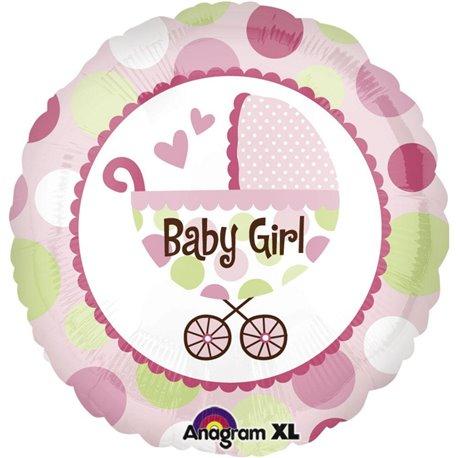 Balon Folie 45 cm Carucior Baby Girl Roz, Amscan 21989