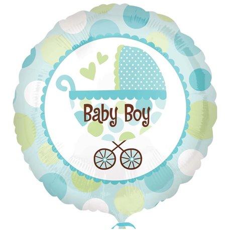 "Balon Folie 45 cm Carucior ""Baby Boy"", Amscan 21992"