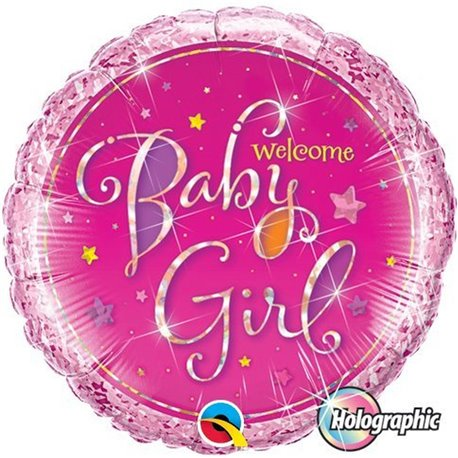 "Welcome Baby Girl Stars Pink Round Balloon, Qualatex, 18"", 35316"