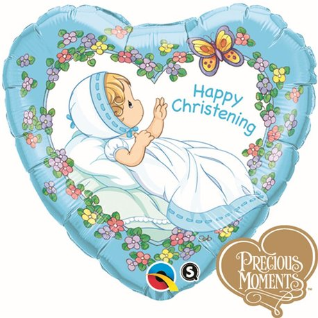 Balon Folie 45 cm Happy Christening Boy, Qualatex 36454