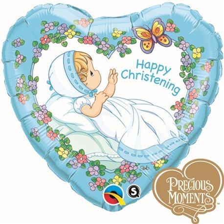 "Heart Happy Christening Boy Foil Balloon, Qualatex, 18"", 36454"