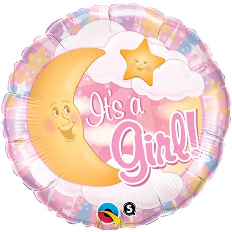 "It's A Girl Moon & Stars Pink Foil Balloon, Qualatex, 18"", 28834"