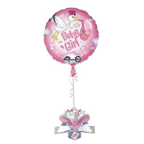 "Baby Girl Stork 3D Pop Up Balloon Card, Amscan, 18"", 27187"