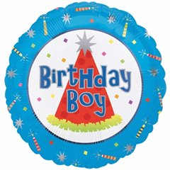 "Birthday - Boy Foil Balloon - 18""/45cm, Amscan 10076-01"