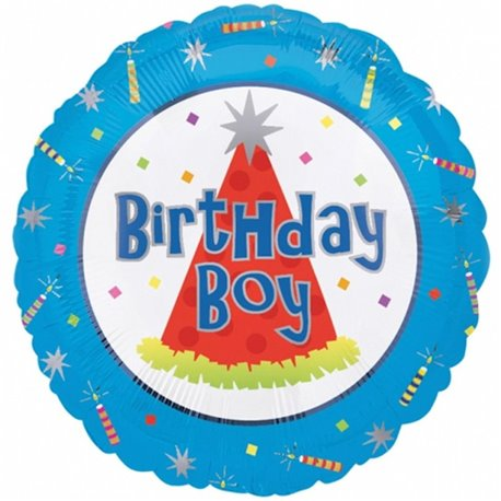 Balon Folie Birthday - Boy, Amscan 10076-01