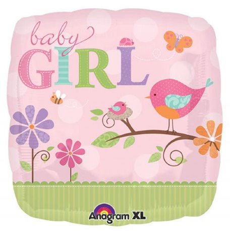 Balon Folie 45 cm Patrata Baby Girl, Amscan 25084