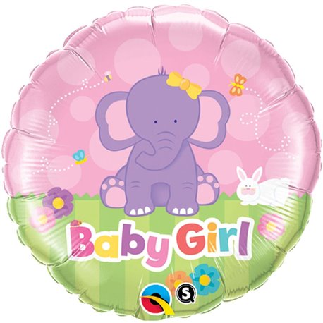 Balon Folie 45 cm Baby Girl Elefantel, Qualatex 13929