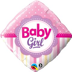 Balon Folie 45 cm Diamond Baby Girl cu Buline si Dungi, Qualatex 14400