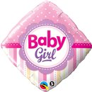 Balon Folie 45 cm Patrata Baby Girl cu Buline si Dungi, Qualatex 14400