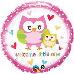 "Welcome LIttle One Owls Foil Balloon, Qualatex, 18"", 18436"