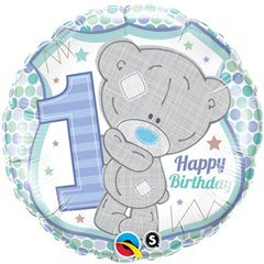 "Teddy 1st Birthday Boy Foil Balloon, Qualatex, 18"", 20788"