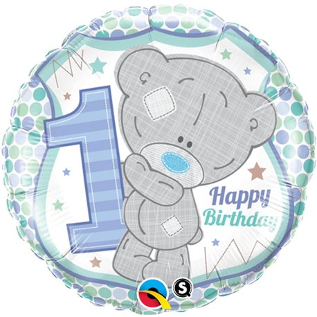 """Teddy 1st Birthday Boy Foil Balloon, Qualatex, 18"""", 20788"""