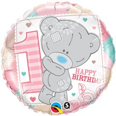 "Teddy 1st Birthday Girl Foil Balloon, Qualatex, 18"", 20776"