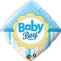 Balon Folie 45 cm Diamond Baby Boy cu Buline si Dungi, Qualatex 14637